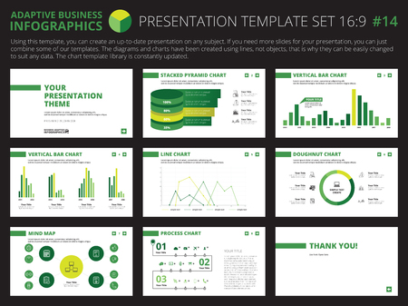 colorful slide: Set of editable infographic presentation templates with graphs and charts on white background