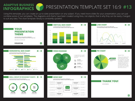 presentation background: Set of editable infographic presentation templates with graphs and charts on white background