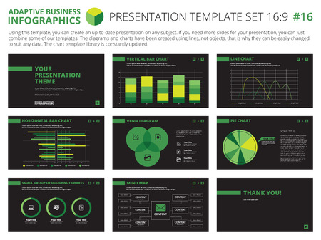 colorful slide: Set of editable infographic presentation templates with graphs and charts on black background