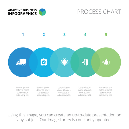 stage chart: Editable infographic template of process chart, blue and green version Illustration