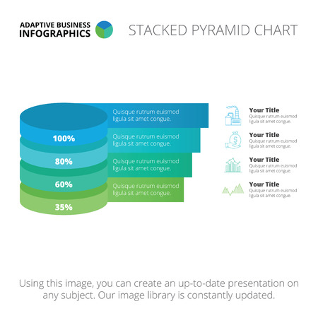 editable: Editable infographic template of stacked pyramid chart, blue and green version Illustration