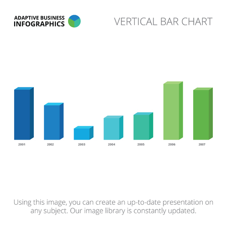 Editable infographic template of vertical 3d bar chart, blue and green version