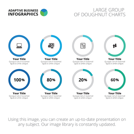 Editable infographic template of doughnut chart blue and light editable infographic template of large group of doughnut charts vector ccuart Gallery