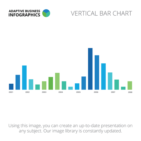 vertical bar: Editable infographic template of vertical bar chart, blue and green version