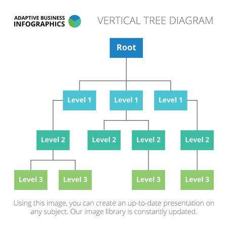 diagrama de arbol: Plantilla infografía editable de diagrama de árbol vertical, azul y verde versión