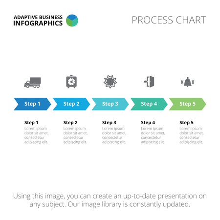 Editable infographic template of process chart, blue and green version Vectores