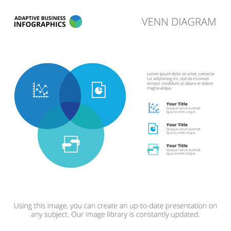 circle graph: Editable infographic template of Venn diagram, blue and light blue version