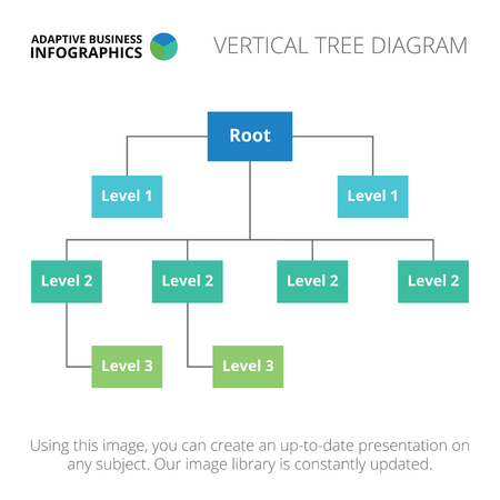 connection block: Editable infographic template of vertical tree diagram, blue and green version Illustration