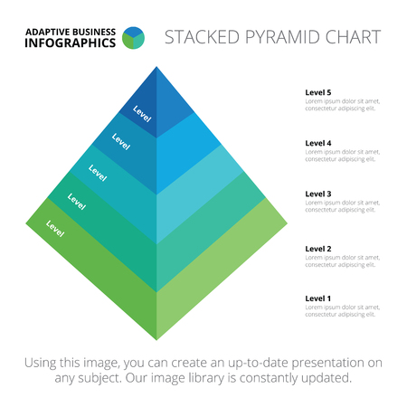 Editable infographic template of stacked pyramid chart, blue and green version Illustration
