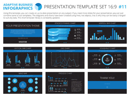 blue line: Set of editable infographic presentation templates with graphs and charts on black background