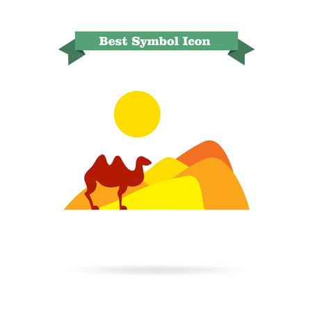 desert landscape: Icon of desert landscape with sand hills, sun and camel Illustration
