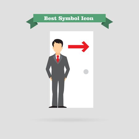 business security: Icon of businessman figure standing at doorway with arrow direction sing