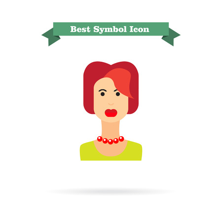 blank expression: Female character icon, portrait of young redheaded woman Illustration