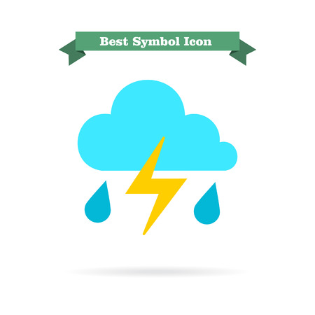 predicting: Icon of clouds with falling raindrops and lightning