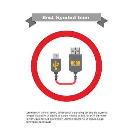 hdmi: Icon of mini USB to HDMI cable
