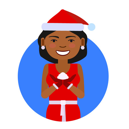 african american woman: Female character, portrait of African American woman wearing red Santa costume, holding some snow