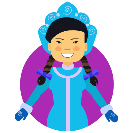 blue smiling: Female character, portrait of smiling Asian woman wearing blue fancy dress with mittens