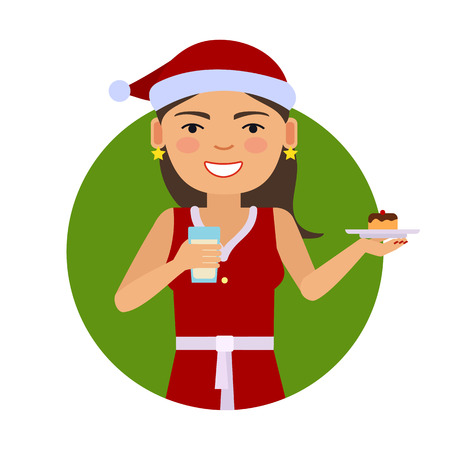 santa costume: Female character, portrait of smiling woman wearing red Santa costume, holding cake and glass of milk
