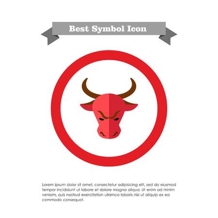 bullish: Icon of bulls head as stock market trend Illustration