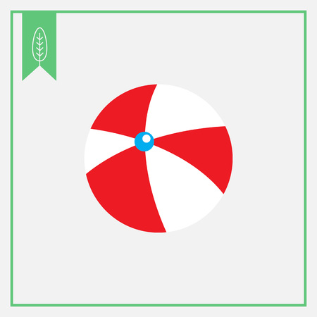 inflatable ball: Icon of white and red inflatable beach ball