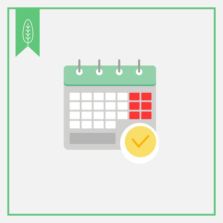 the day off: Icon of calendar page with tick mark