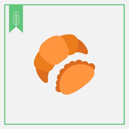 buttery: Icon of croissant and bun Illustration