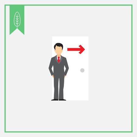doorway: Icon of businessman figure standing at doorway with arrow direction sing