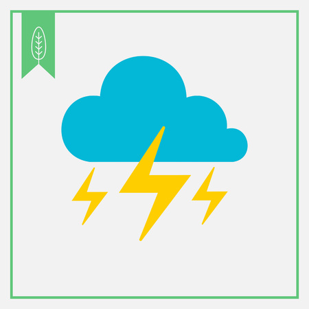 heavy rain: Icon of clouds with lightning