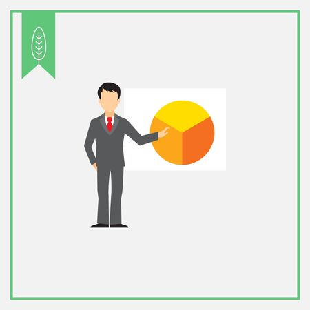 making: Icon of businessman making report at circular diagram on white board