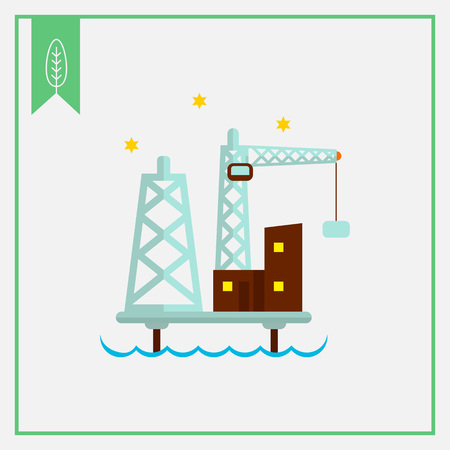 oilfield: Oil platform icon Illustration