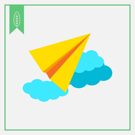 paper flying: Icon of paper plane flying in sky