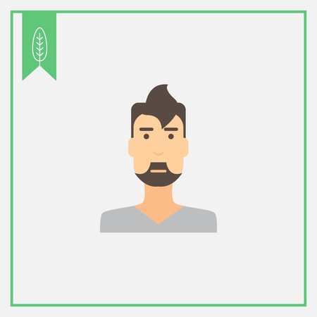 blank expression: Male character icon, portrait of young man with beard Illustration