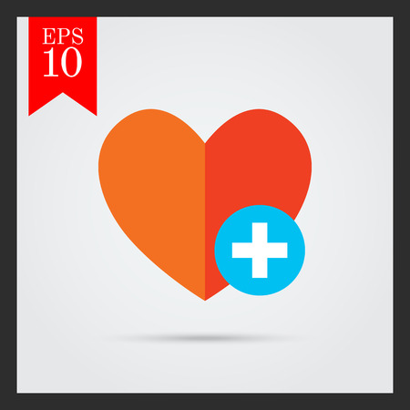 favorites: Icon of red heart sign with plus depicting Add to favorites icon