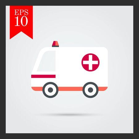 ambulancia: Coche de la ambulancia blanca con el signo de la cruz y la baliza de advertencia