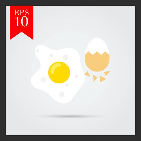 fried: Icon of fried egg and boiled egg with half-peeled eggshell