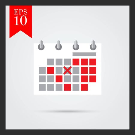 calendar page: Icon of flip calendar page with crossed date