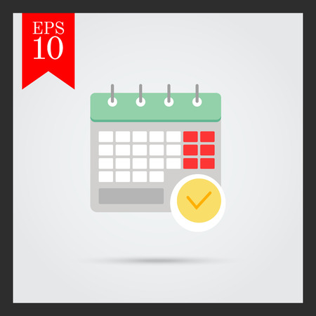 tick mark: Icon of calendar page with tick mark