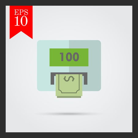 hundred: Icon of cash machine with hundred dollar, banknote