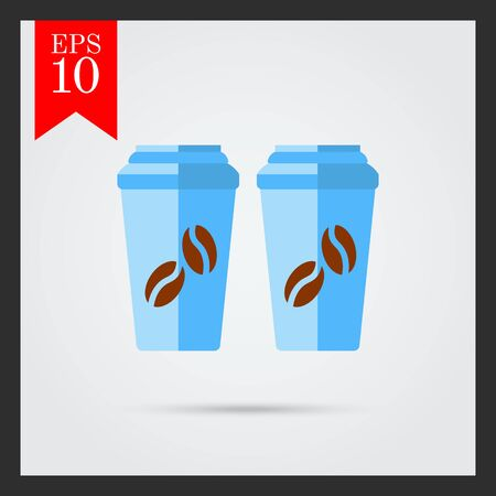 morning walk: Icon of two disposable coffee cups with cover and coffee beans picture Illustration