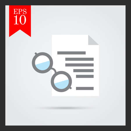 spectacles: Icon of text document and spectacles Illustration