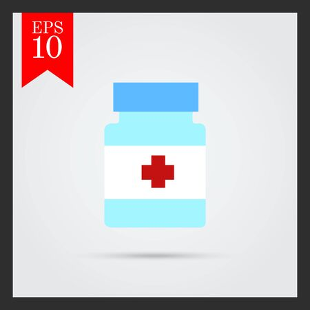 pill bottle: Icon of pill bottle with cross label