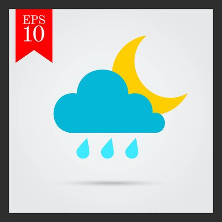predicting: Icon of cloud with raindrops and moon