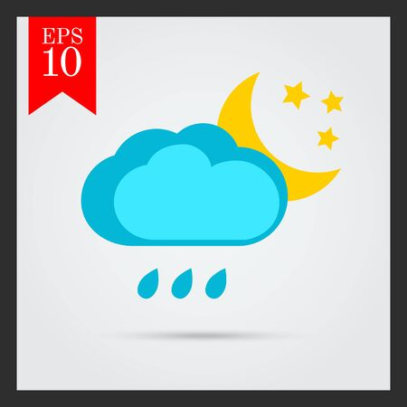 heavy rain: Icon of cloud with raindrops and moon with stars Illustration