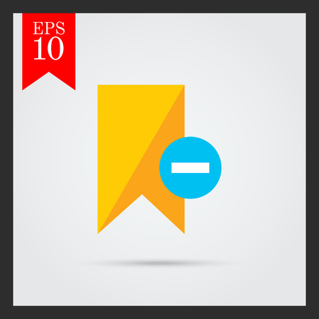 removing: Icon of yellow tag sign with minus depicting Remove from tags Illustration
