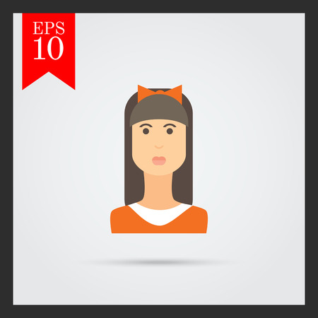 long straight hair: Female character icon, portrait of teenage girl with long hair, fringe and bow on head Vectores