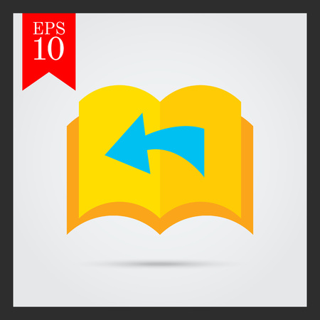 turning page: Icon of book with blank pages being turned over and direction arrow