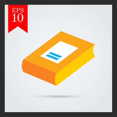 thick: Icon of thick book with cover and label Stock Photo