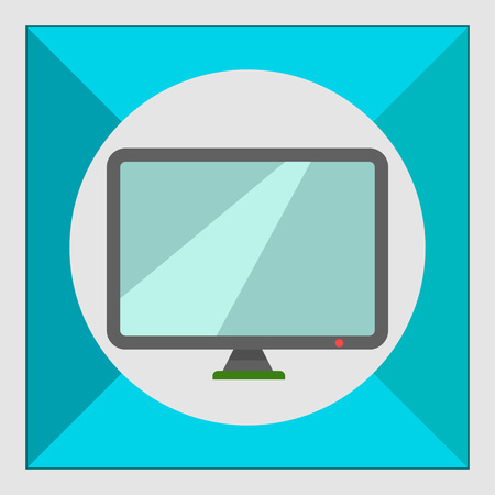 looking at computer screen: Icon of computer monitor Illustration