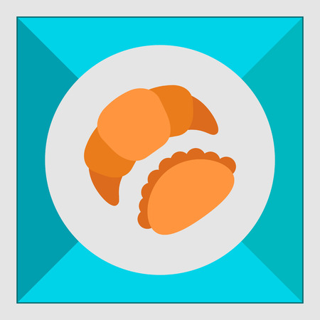 patty: Icon of croissant and bun Illustration
