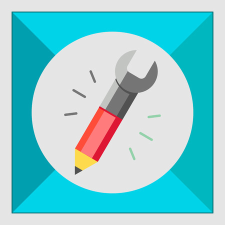 the other side: Icon of pencil with tip and spanner on other side Illustration